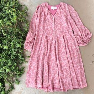 Gal Meets Glam Pink Flora Long Sleeve Midi Dress